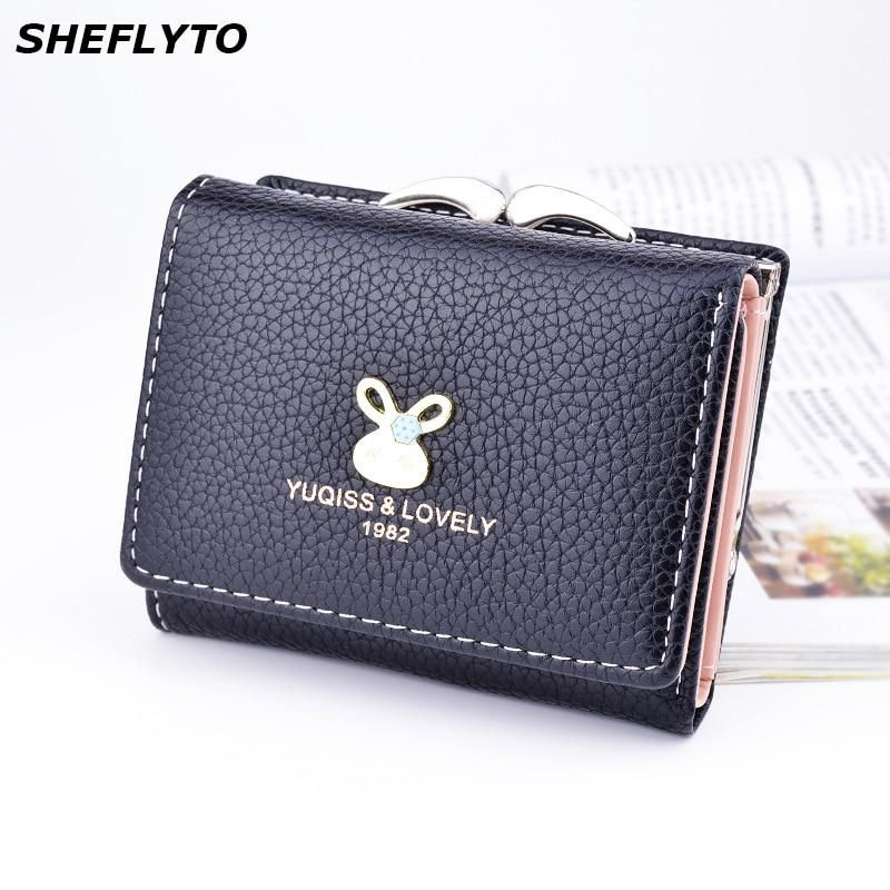 543dd66a4742 Brand Designer Small Coin Purses Leather Wallets Women Short Cute Hasp  Wallet Female Money Clamp Credit Card Holders Clutch Bags.