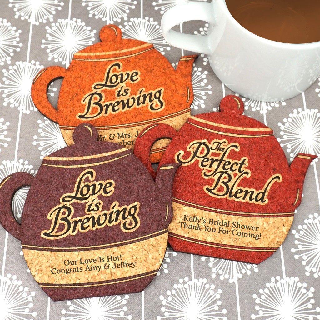 Wedding Cork Coaster: Personalized Tea Pot Cork Coaster In 2019