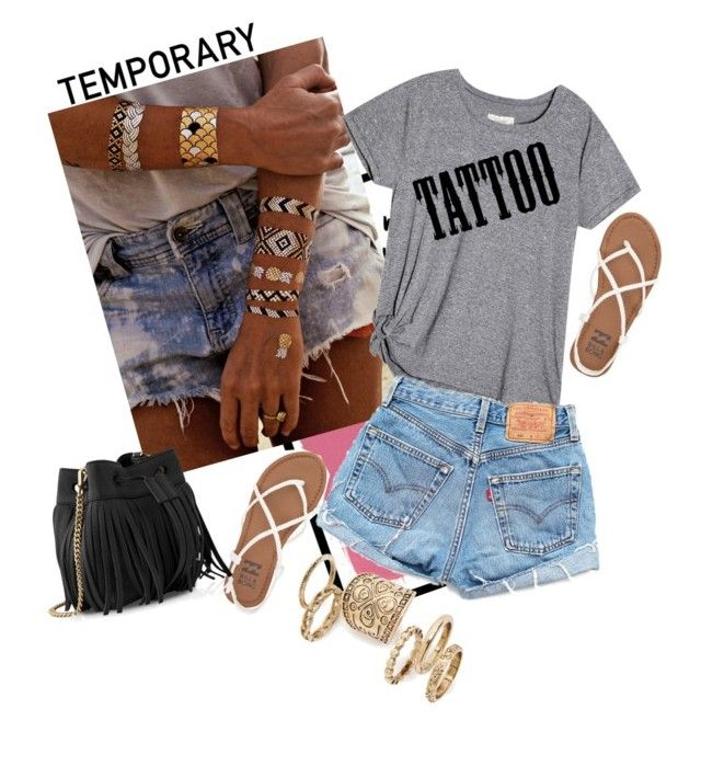 """""""Temporary"""" by dajana-arndt ❤ liked on Polyvore featuring beauty, Flash Tattoos, Billabong, Levi's, Whistles, Topshop and temporarytattoo"""