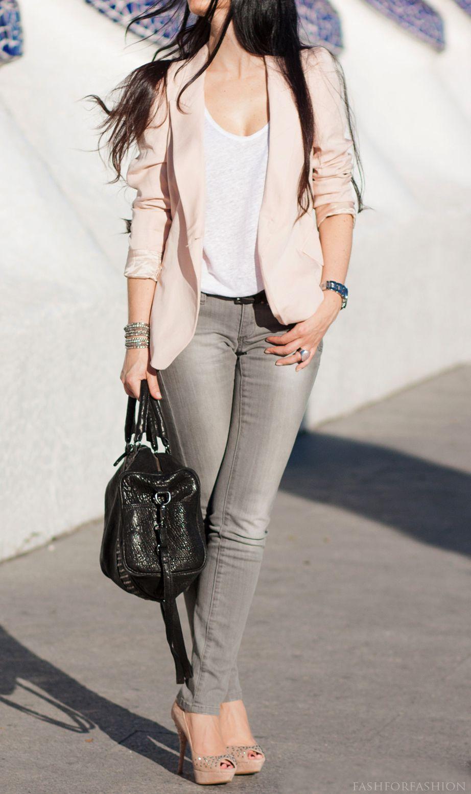 Gris blanco y palo de rosa moda pinterest gray pants blazers