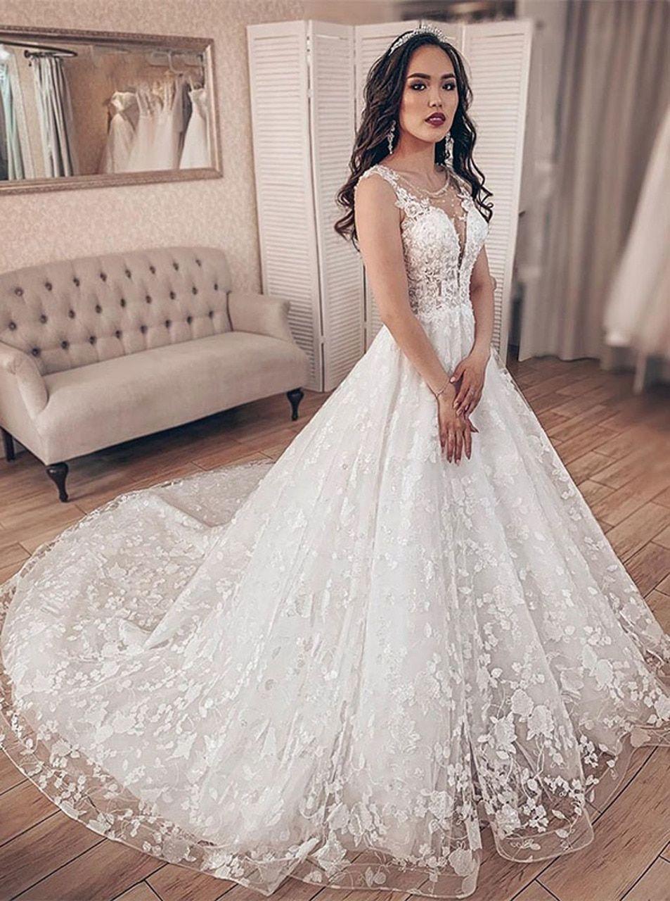 Princess Lace Wedding Dress Stunning Bridal Gown 12222 Wedding Dresses Lace Bridal Gowns A Line Bridal Gowns [ jpg ]
