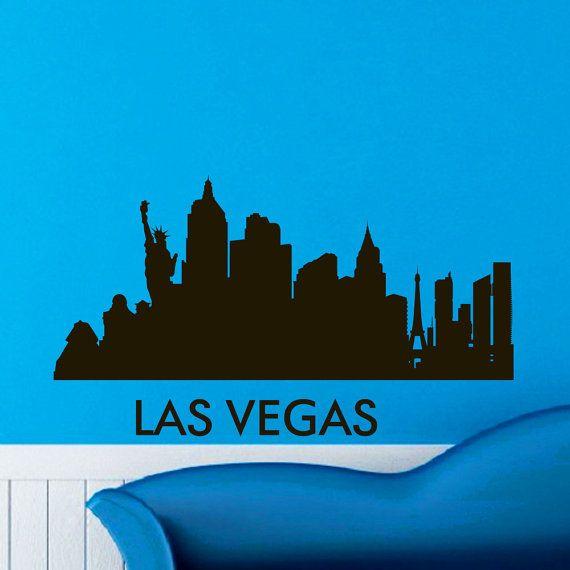 Las vegas skyline city silhouette wall vinyl decal sticker home decor art mural z495