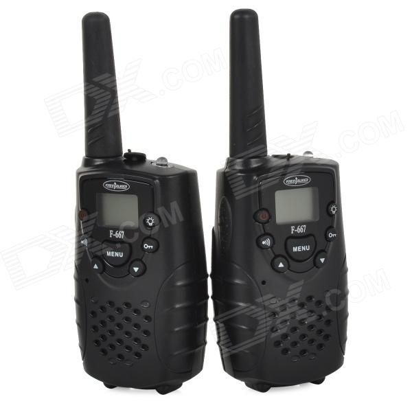 """""""F-667 462.5625-462.725MHz 2W / 0.5W 1.0"""""""" LCD 8-CH Walkie Talkie Set - Black """". Standby time: 120h; Powered by 3 x AA batteries (not included); With four different calling sound for choice; Can auto scan 8 channel and choose one effective channel; With external lighting; Suitable for couples, caring for old people, teaching, talking in different buildings and securing, etc.. Tags: #Electrical #Tools #Walkie #Talkies"""