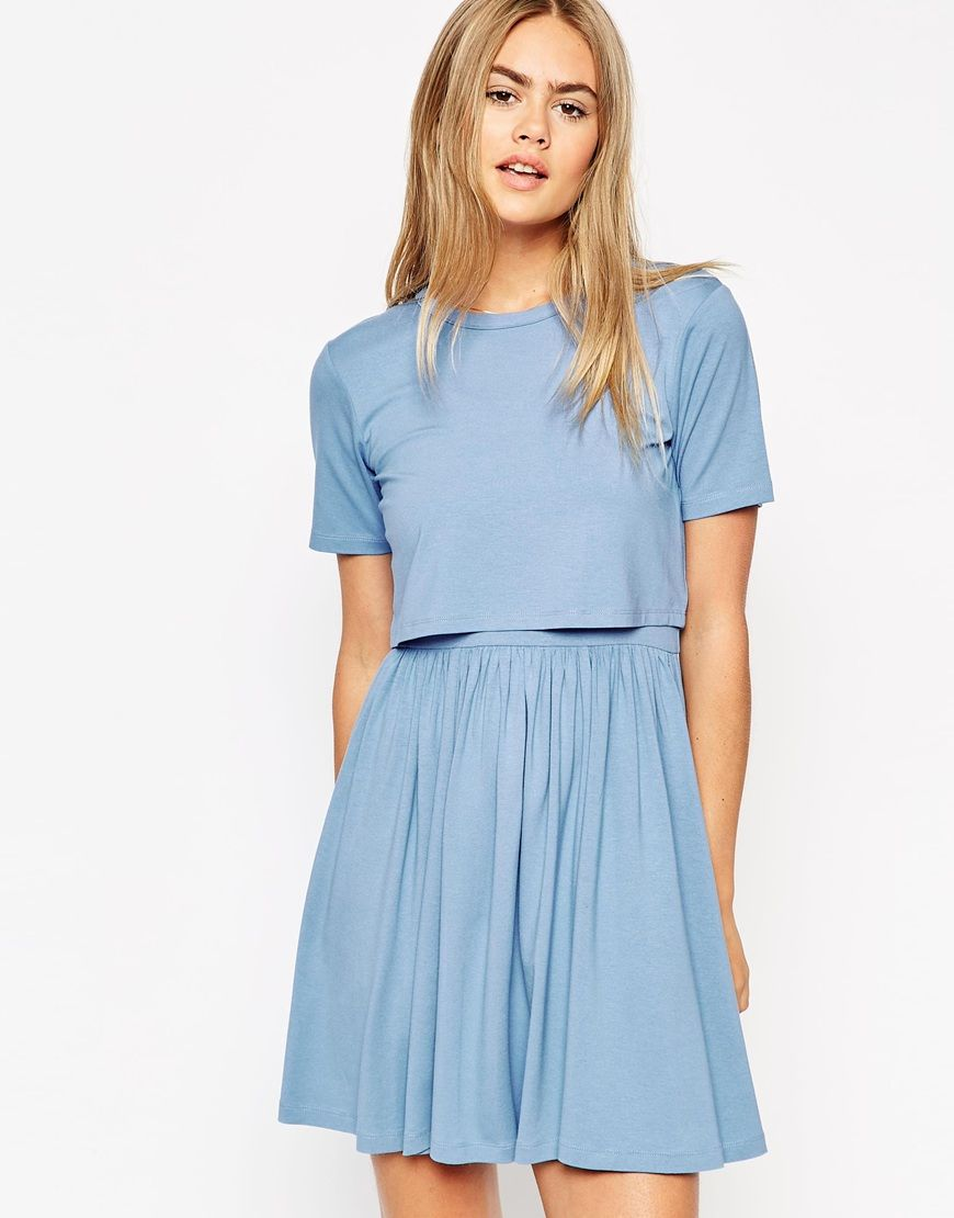 Image 1 of ASOS Skater Dress with T-Shirt Overlay | Cute clothes ...