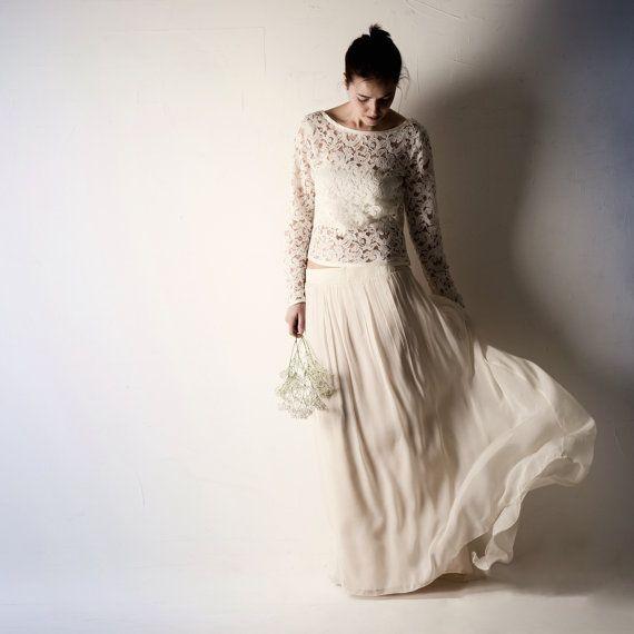 9ed857176c2d Lace wedding top, Long sleeve wedding dress, Wedding separates, Boho ...