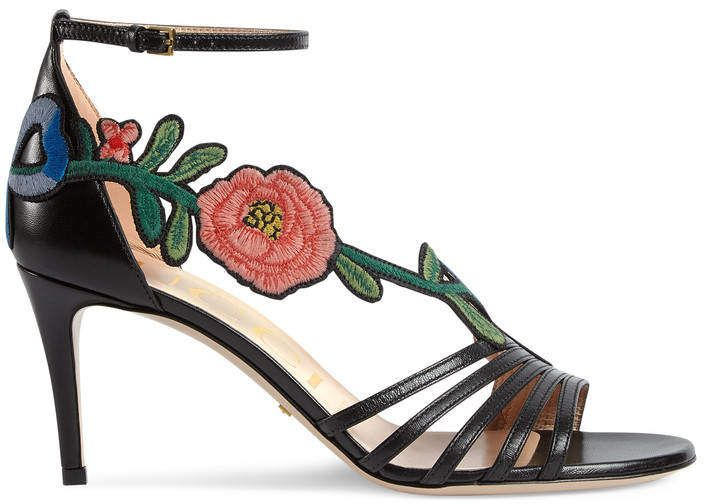 b323dd8c457 Gucci Embroidered leather sandal.A high-heel sandal with an intricately  designed floral embroidery