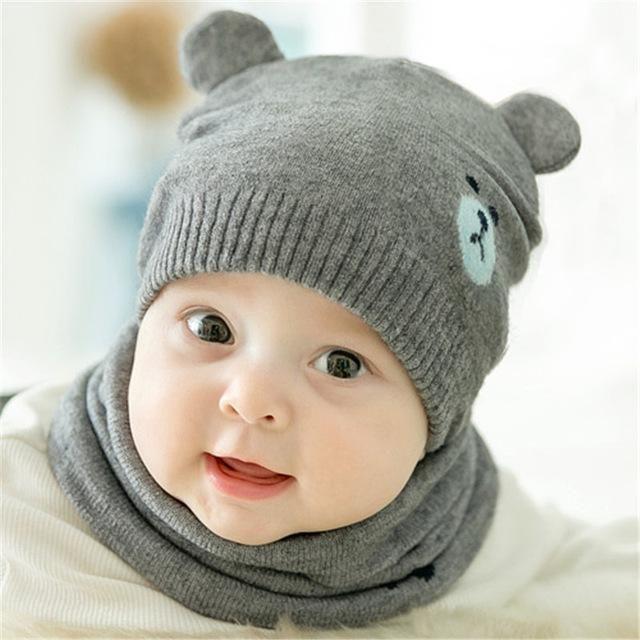 96758ac77997 2pcs set Fashion Newborn Knitted Cap + Scarf Suit