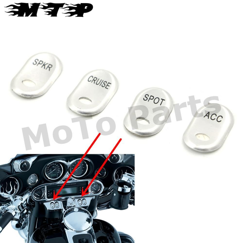 4x Motorcycle Rocker Switch Covers SPOT&CRUISE&SPKR&ACC Buttons Cap