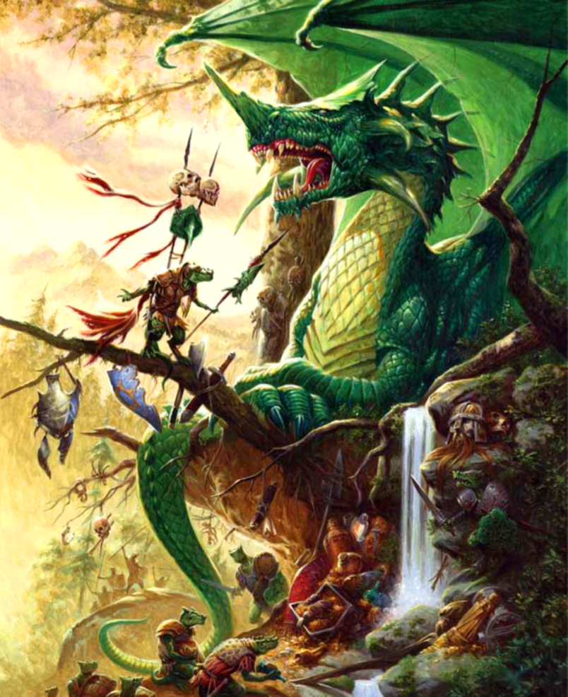 Green Dragon in Forest Lair - Pathfinder PFRPG DND D&D 3 5
