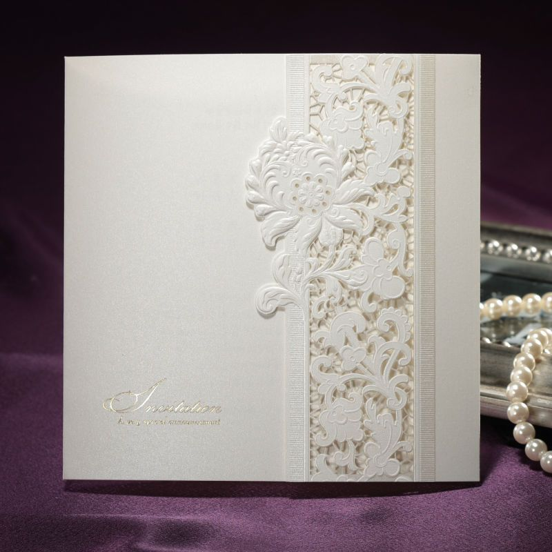 wedding invitation printing malaysia%0A Pure Ivory Lace Cut out Folded Pearl Paper Wedding Invitations Cards  Customized Printing    pcs