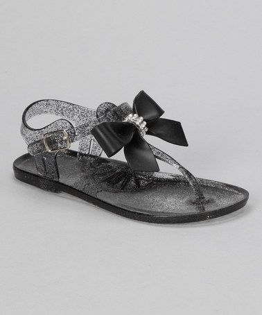 Another great find on #zulily! Black Glitter Bow Jelly Sandal by Chatties #zulilyfinds