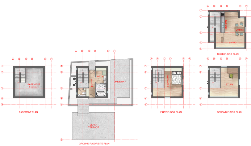Building Plans For 4x4 : Rendered floor plans of tadao ando s house drawn by
