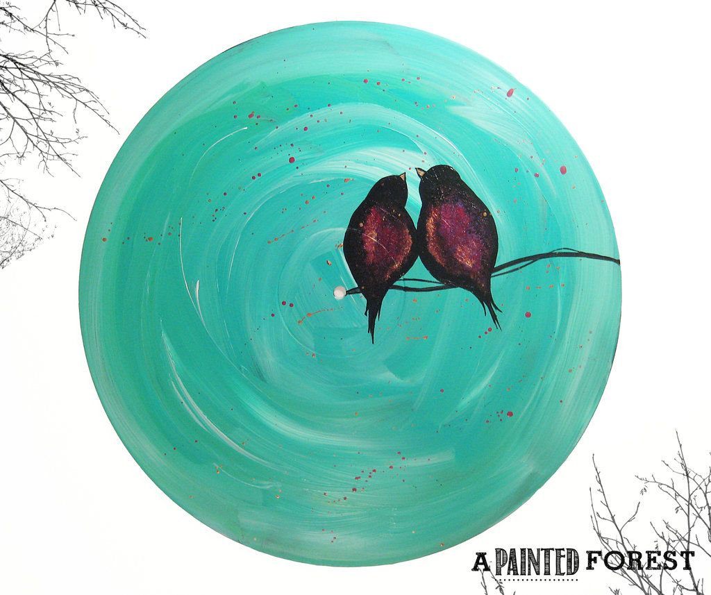 Birds on a Wire - Vinyl Record Painting by paperheartsyndrome ...