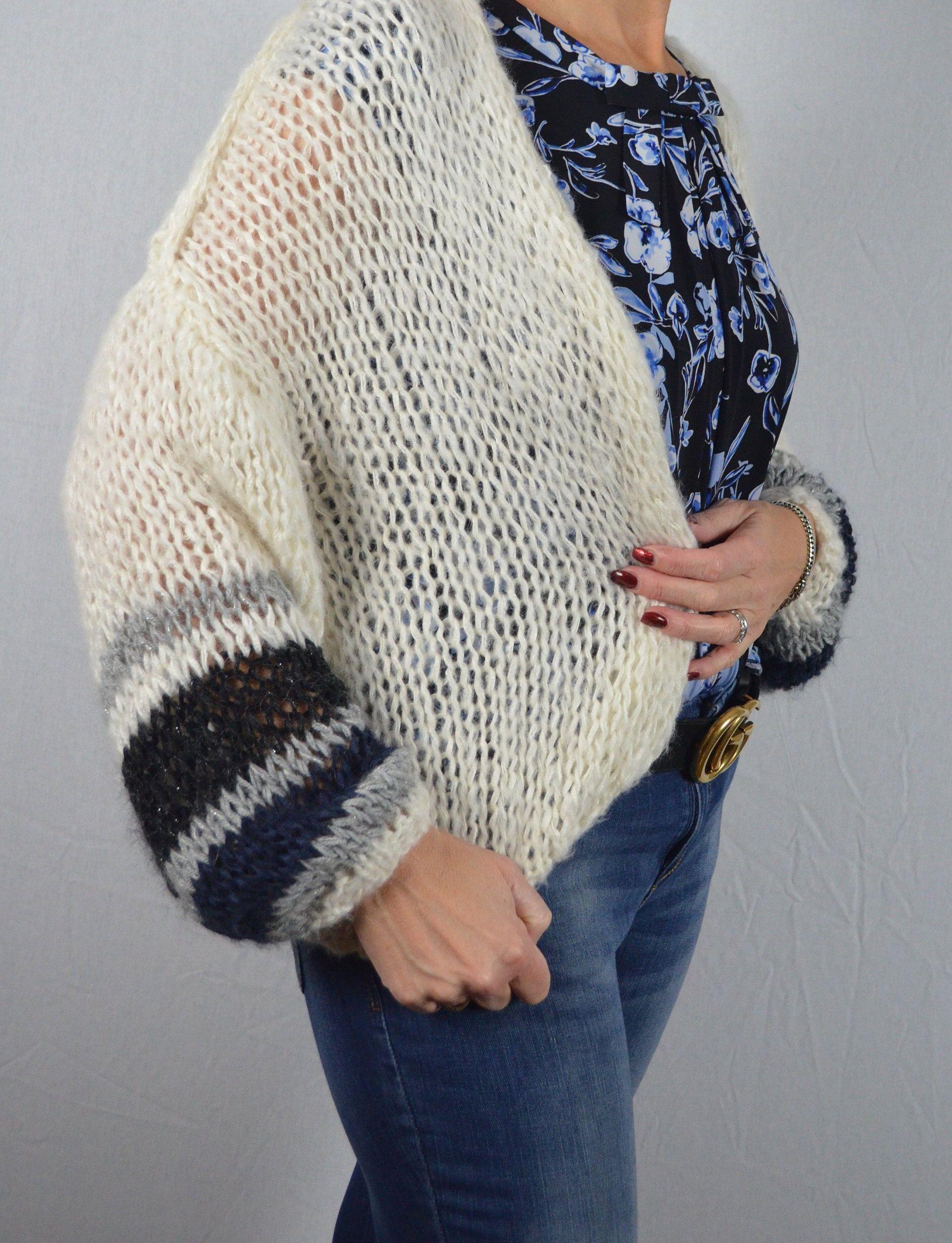 Wit Blauw Gestreepte Trui.Cardigan Wit Blauw Knitware Designlabel Blue 72