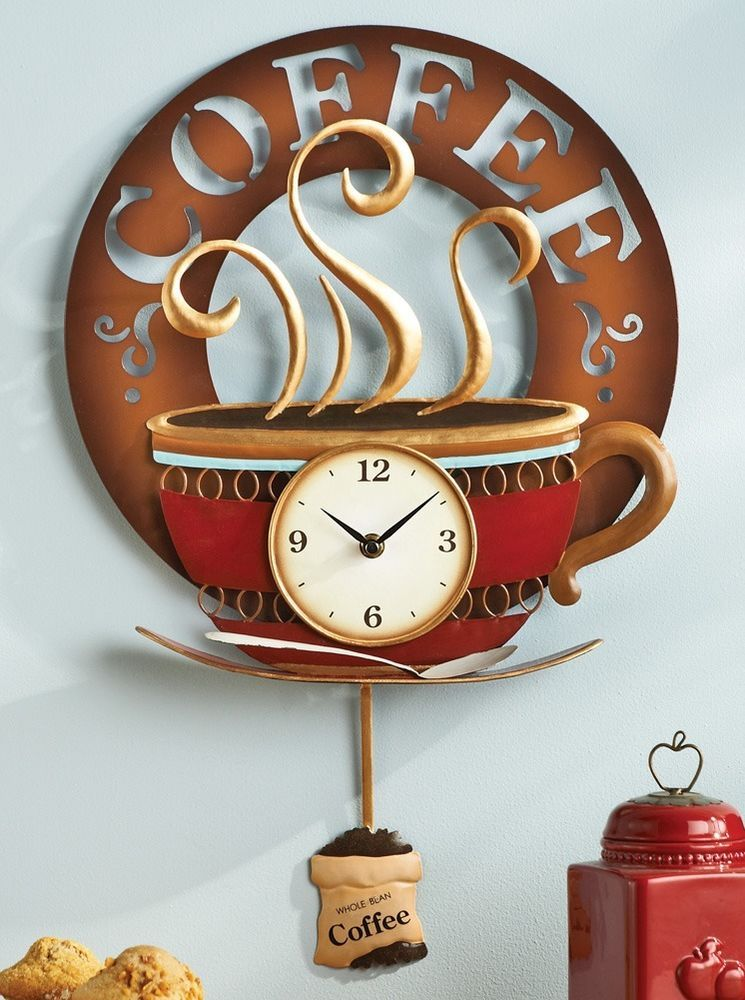 Coffee Cup Theme Kitchen Wall Clock Metal Home Decor Accent NEW