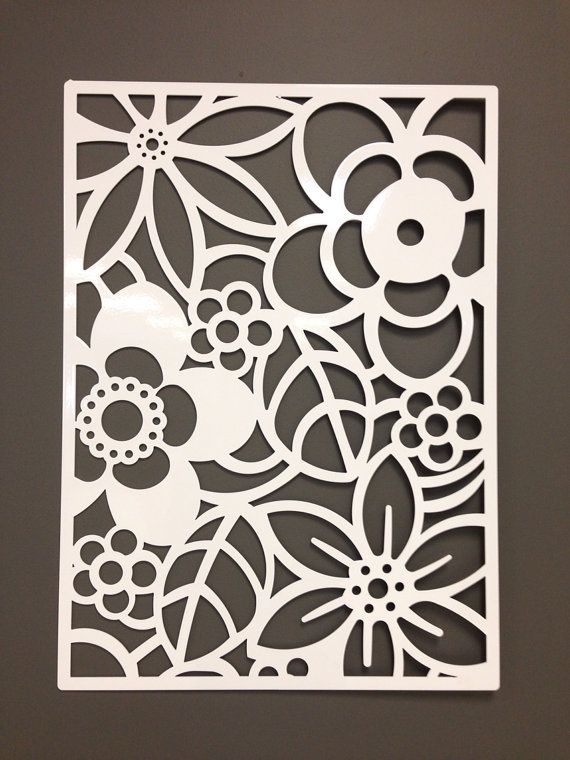 Abstract flower metal wall or garden art panel 24 by Wall art paper designs