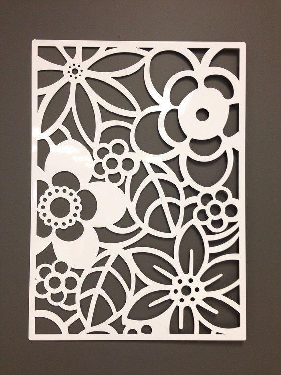 "Abstract Flower Metal Wall Or Garden Art Panel 24"""