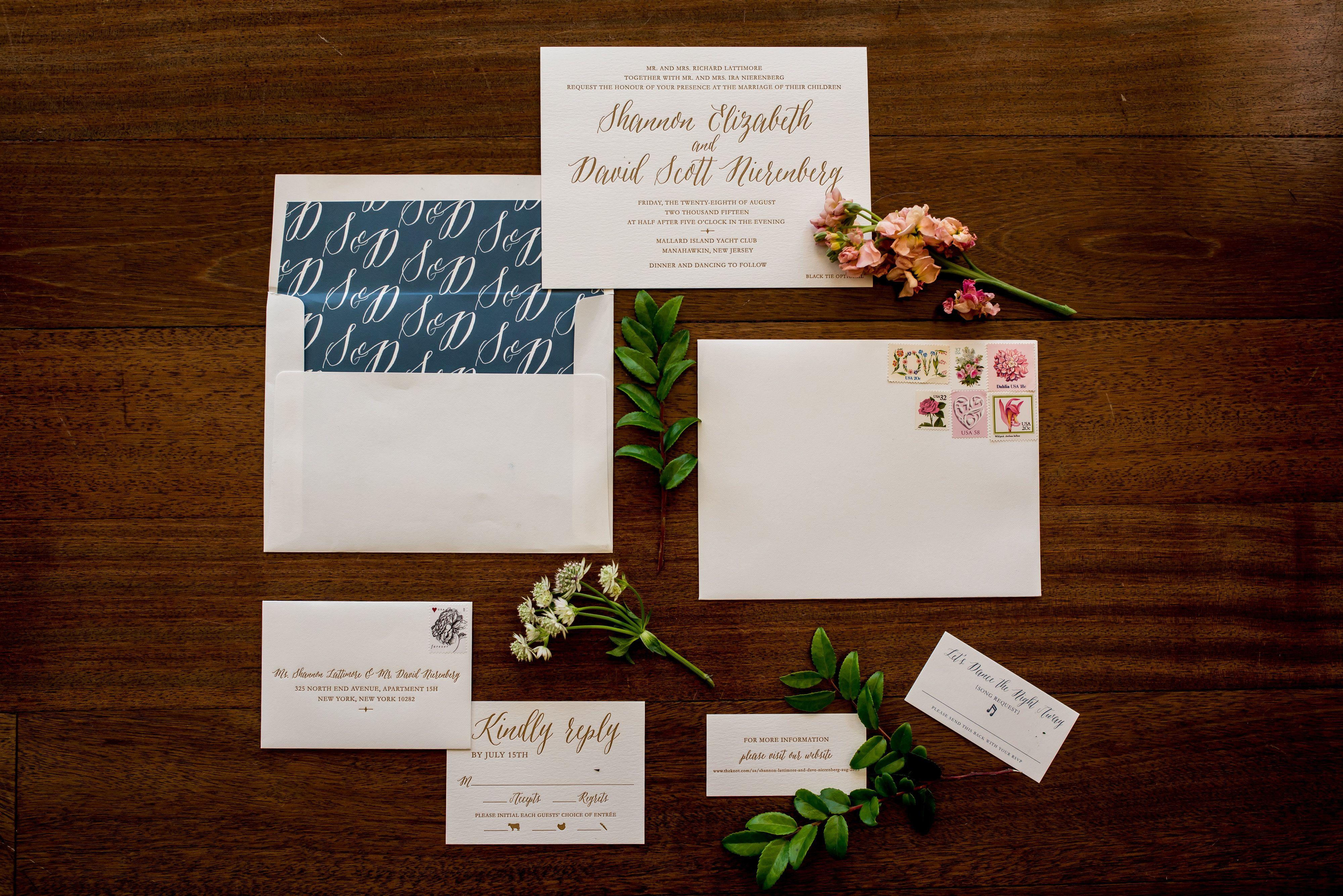 Wedding invitation letterpress antique gold ink envelope liner