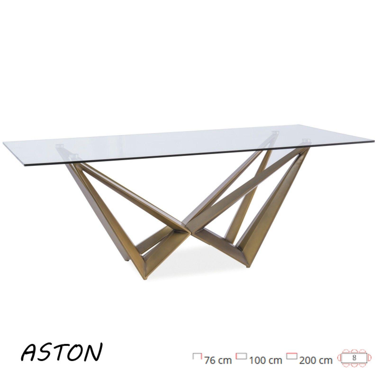 Aston modern, edzett üveg, 8 személyes étkezőasztal, króm vázzal ...