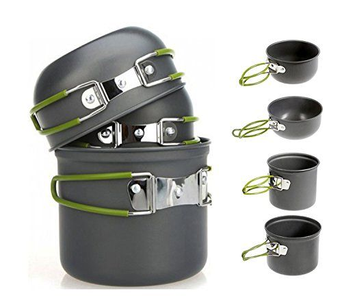 Photo of Aeroway 4pcs Outdoor Camping Hiking Cookware Backpacking Cooking Picnic Bowl Pot Pan Set – Survival By Southern Zoomer