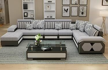 Fabric U Shaped Sectional Sofa