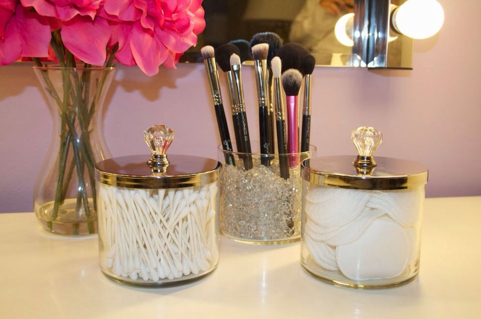 Love This Idea For Cotton Balls, Cotton Pads, And Q Tip Storage! Old Candle  Holders With Knobs!