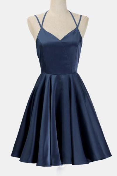 8e82a4470e0d Simple Dark Blue Spaghetti Straps Cheap Short Prom Homecoming Dresses Party  Gowns LD443