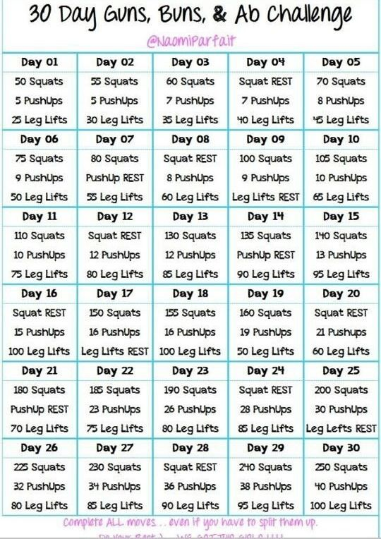 Do 20 minutes of cardio then follow this chart each day and you'll be more  toned in no time! And it's a great starting point for beginners.