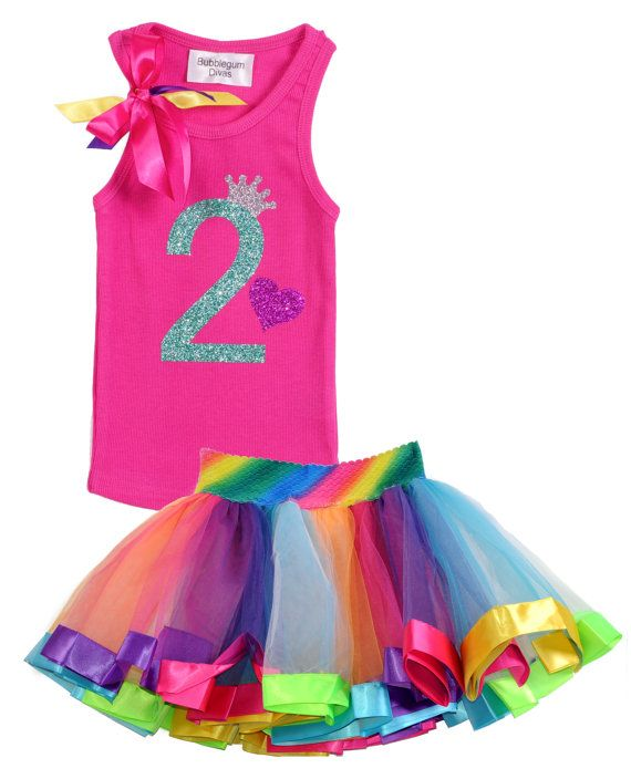 Pink 2nd Birthday Outfit Rainbow Party Tutu Skirt Birthday Party ...