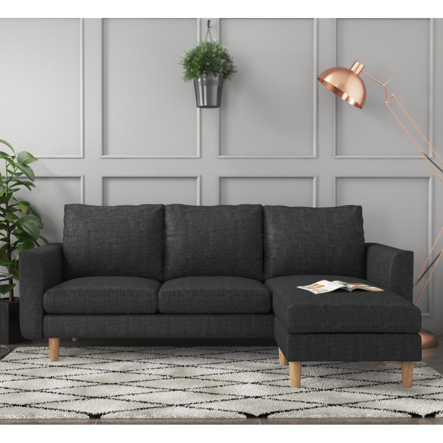 Brooke Small Charcoal Grey Corner Apartment Sofa Fabric Corner Sofa Grey Corner Sofa Kitchen Sofa