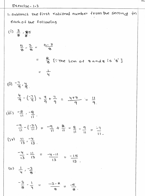 Rational Numbers Rd Sharma Class 8 Solutions Exercise 1 3 Rational Numbers Class 8 Solutions