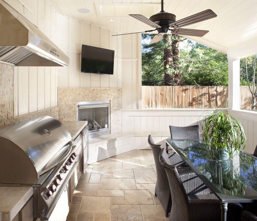 Outdoor Kitchen, Dining, Fireplace And A