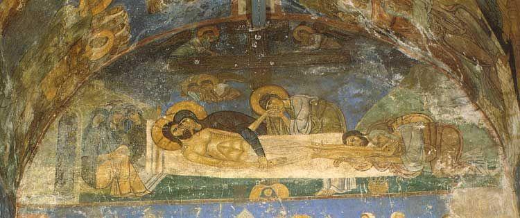 Мирожский монастырь. Собор Спаса Преображения, Псков.Оплакивание Христа