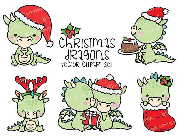 Weihnachten Clipart.Premium Vektor Clipart Kawaii Weihnachten Drachen Cute