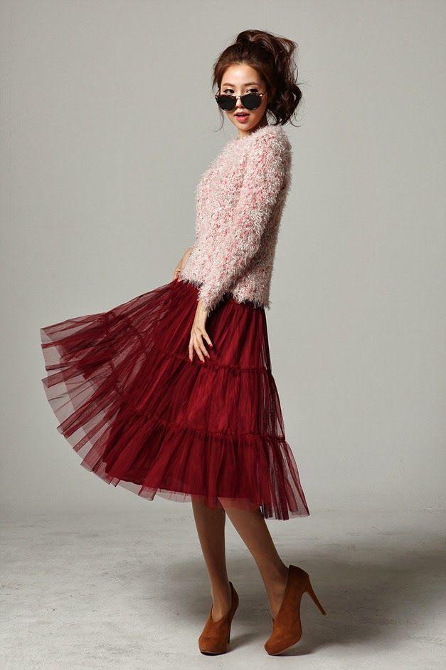 Lovely red flared skirt