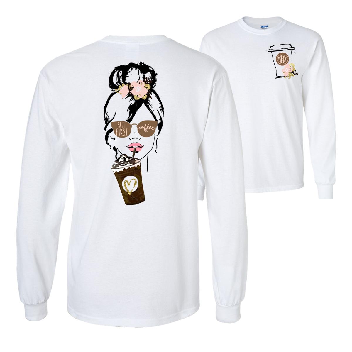 c514a86888bb Monogrammed Coffee Girl T-Shirt #monogram #coffee #coffeelover #coffeetime