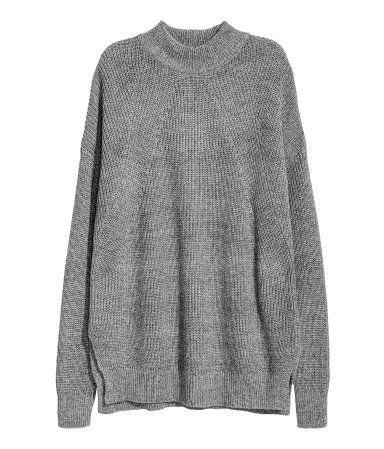 Knit Mock Turtleneck Sweater | Dark gray | Ladies | H&M US | I'd ...