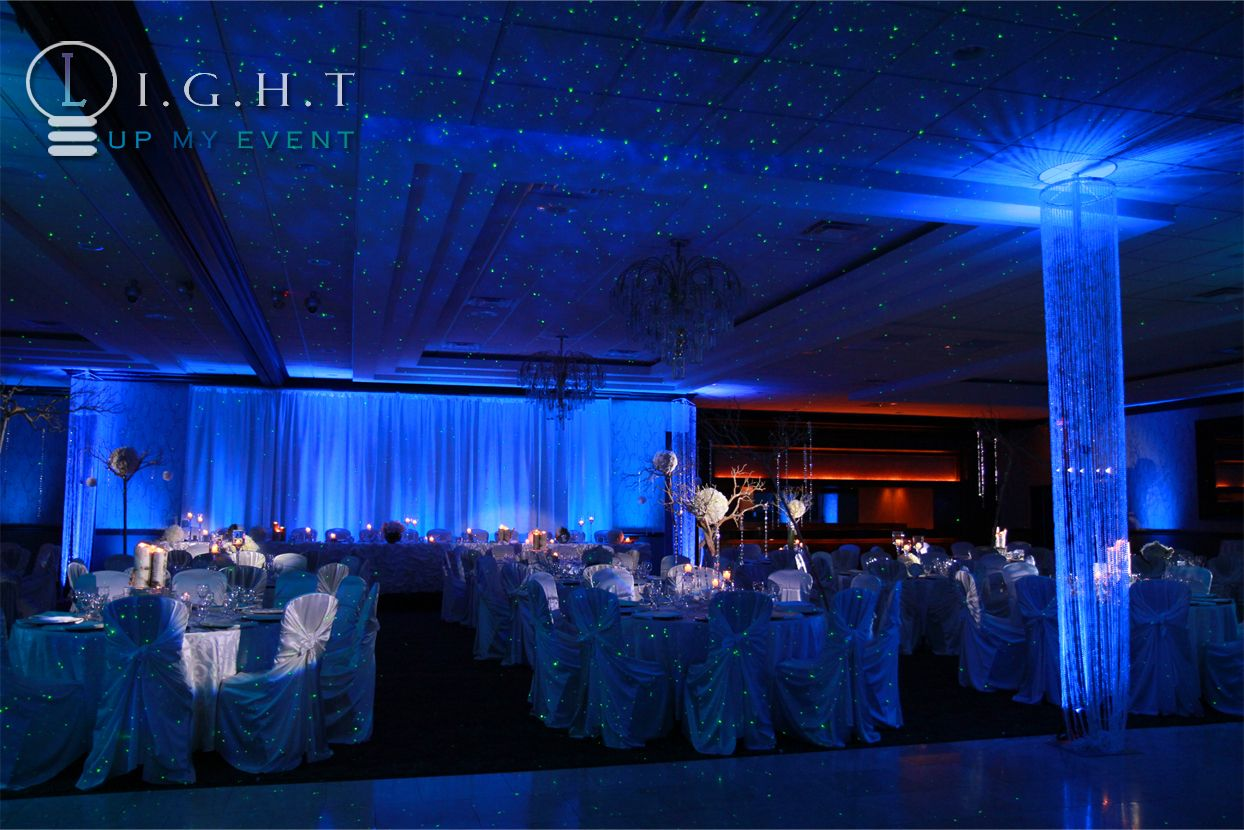 Club Venetian @ Madison Heights Michigan head table drapery, crystal chandeliers, room lighting fixtures, constellation effect, event trees, centerpiece pinspots.