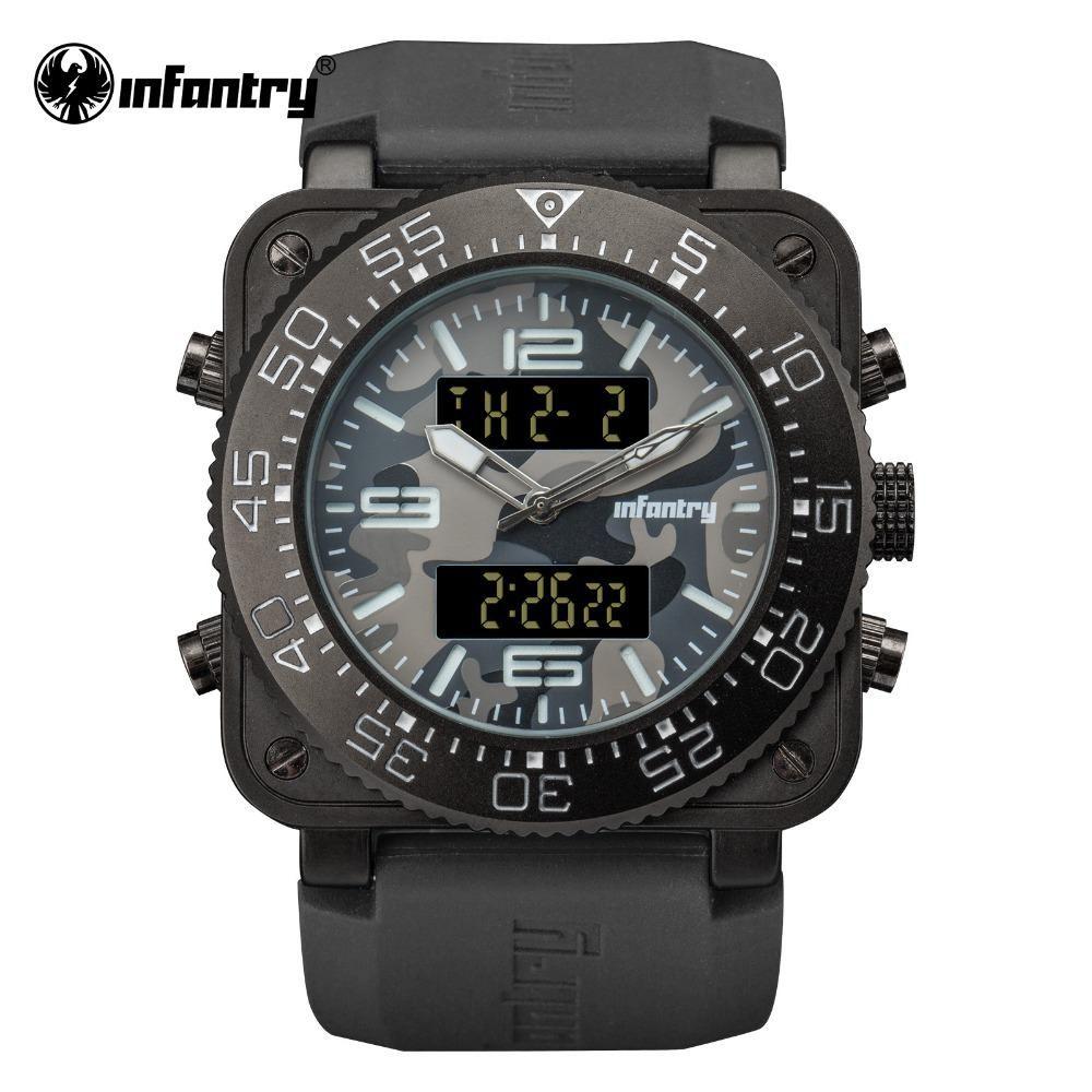Infantry Military Watch Men Digital Quartz Wristwatch Mens Watches Top Brand Luxury Big Square Army Tact Military Watches Watches For Men Mens Watches Military