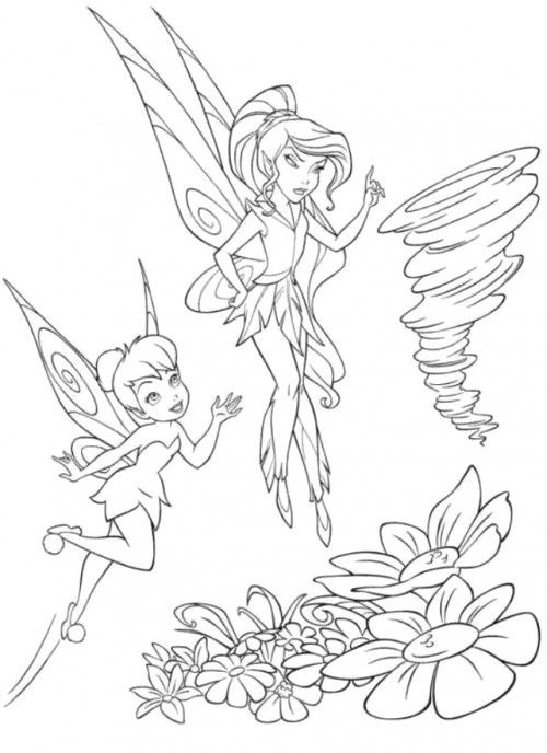 Vidia And Tinker Bell Looking For Something Coloring Page