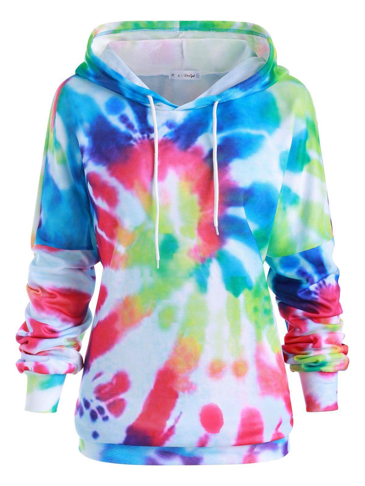 Plus size rainbow spiral tie dye print tunic hoodie