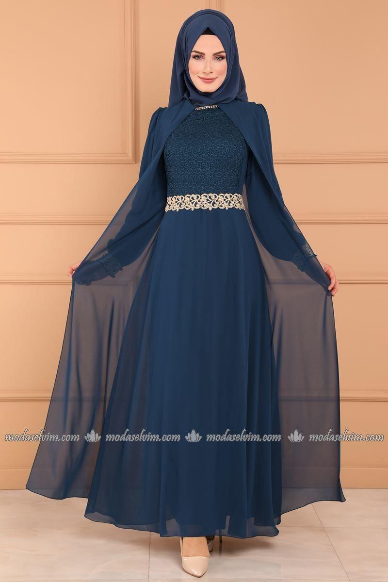 Gupur Detay Kolyeli Sifon Abiye Alm3005 Indigo Fashion Pakistani Fashion Dresses With Sleeves