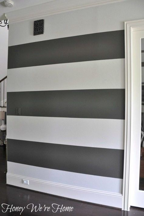 How to Paint Perfect Wide Stripes #graystripedwalls