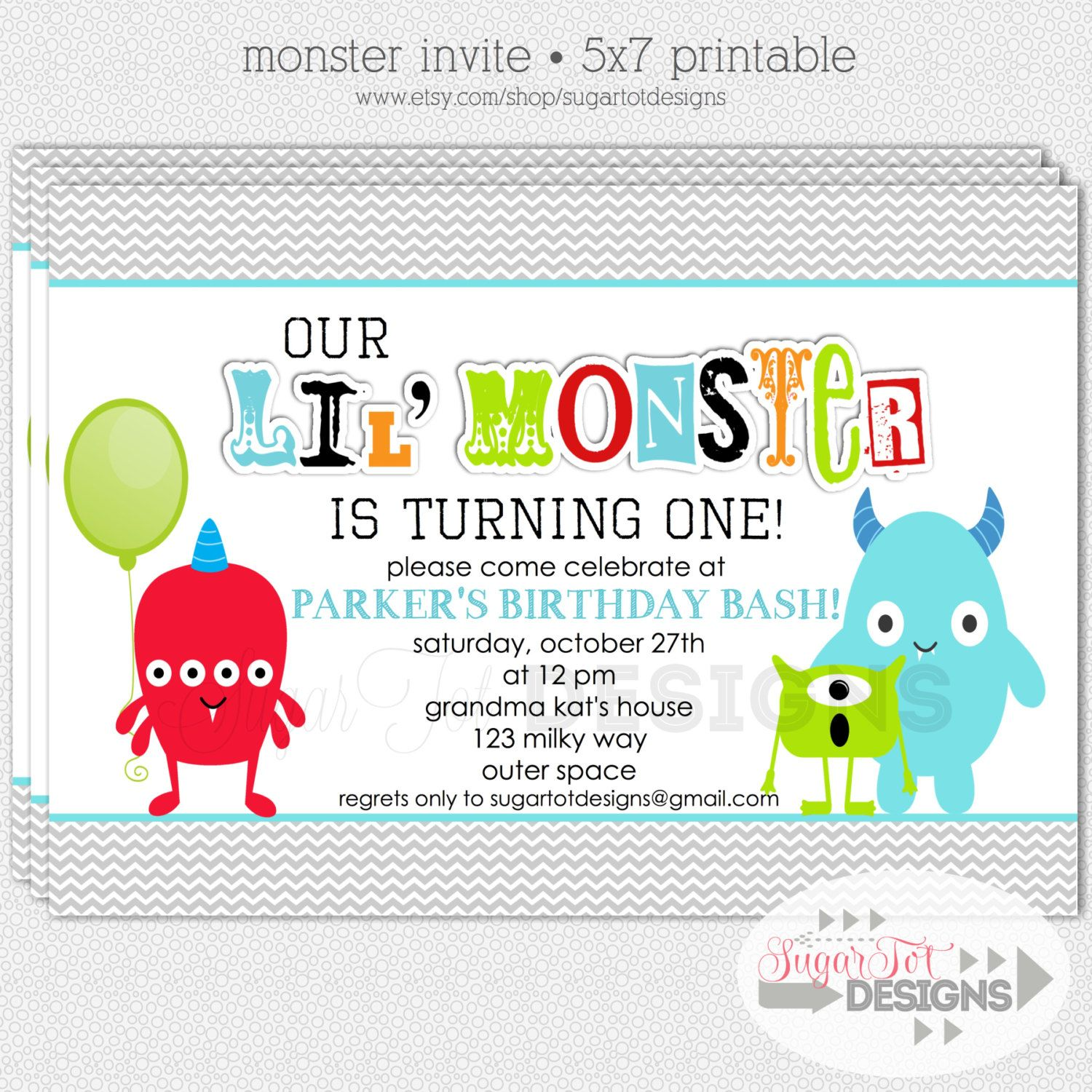 Items Similar To Printable Monster Birthday Party Invitation Monster Bash Invitation X On Etsy