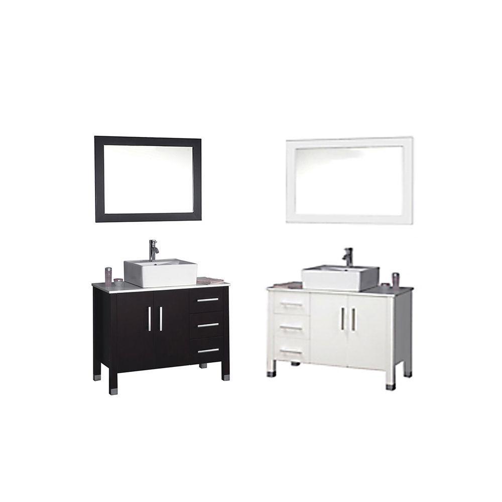 MTD Vanities Aruba 40-inch Single Sink Bathroom Vanity Set with Mirror and Faucet (Espresso (Brown)), Size Single Vanities