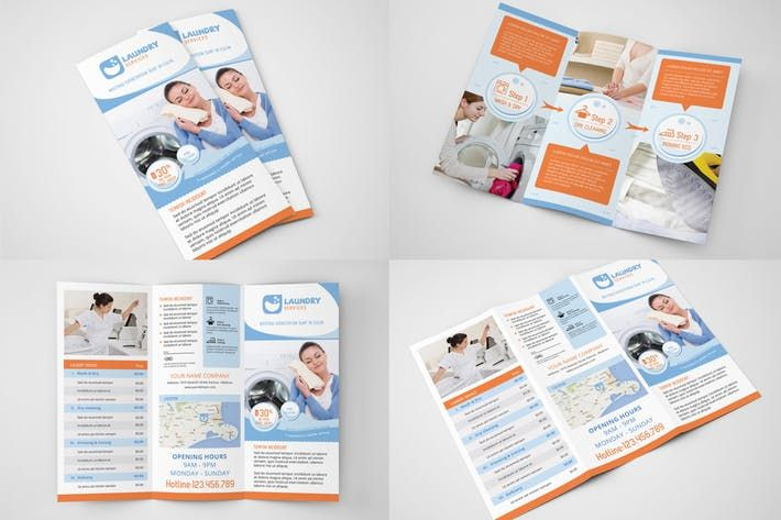 laundry services trifold brochure template washing clean download http1