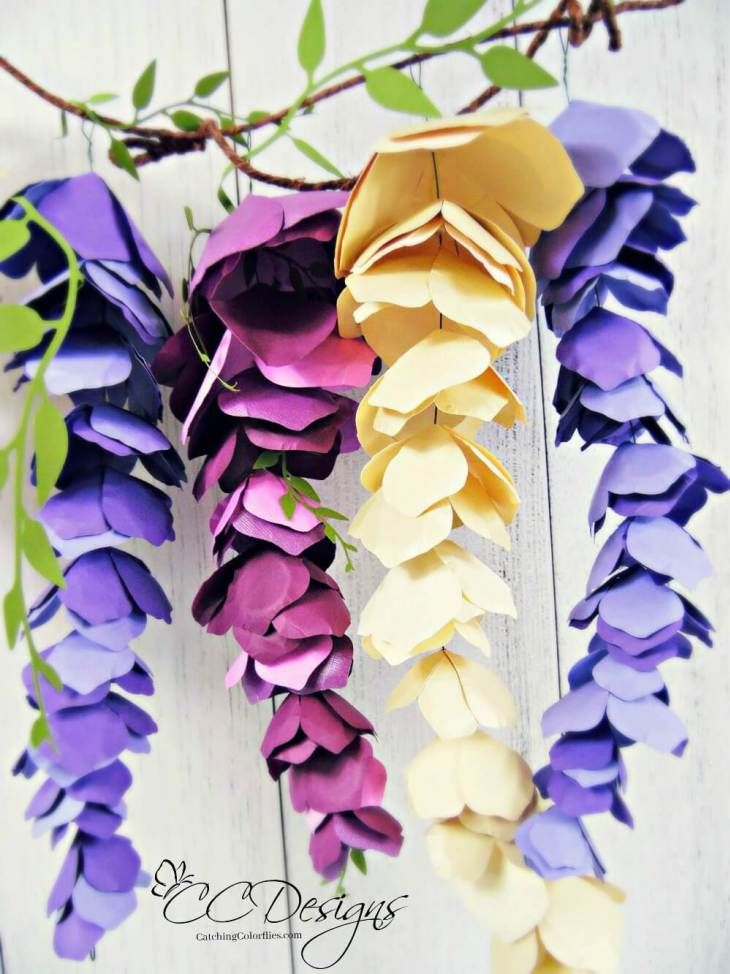Paper wisteria tutorial diy hanging paper wisteria flowers how to make paper wisteria mightylinksfo