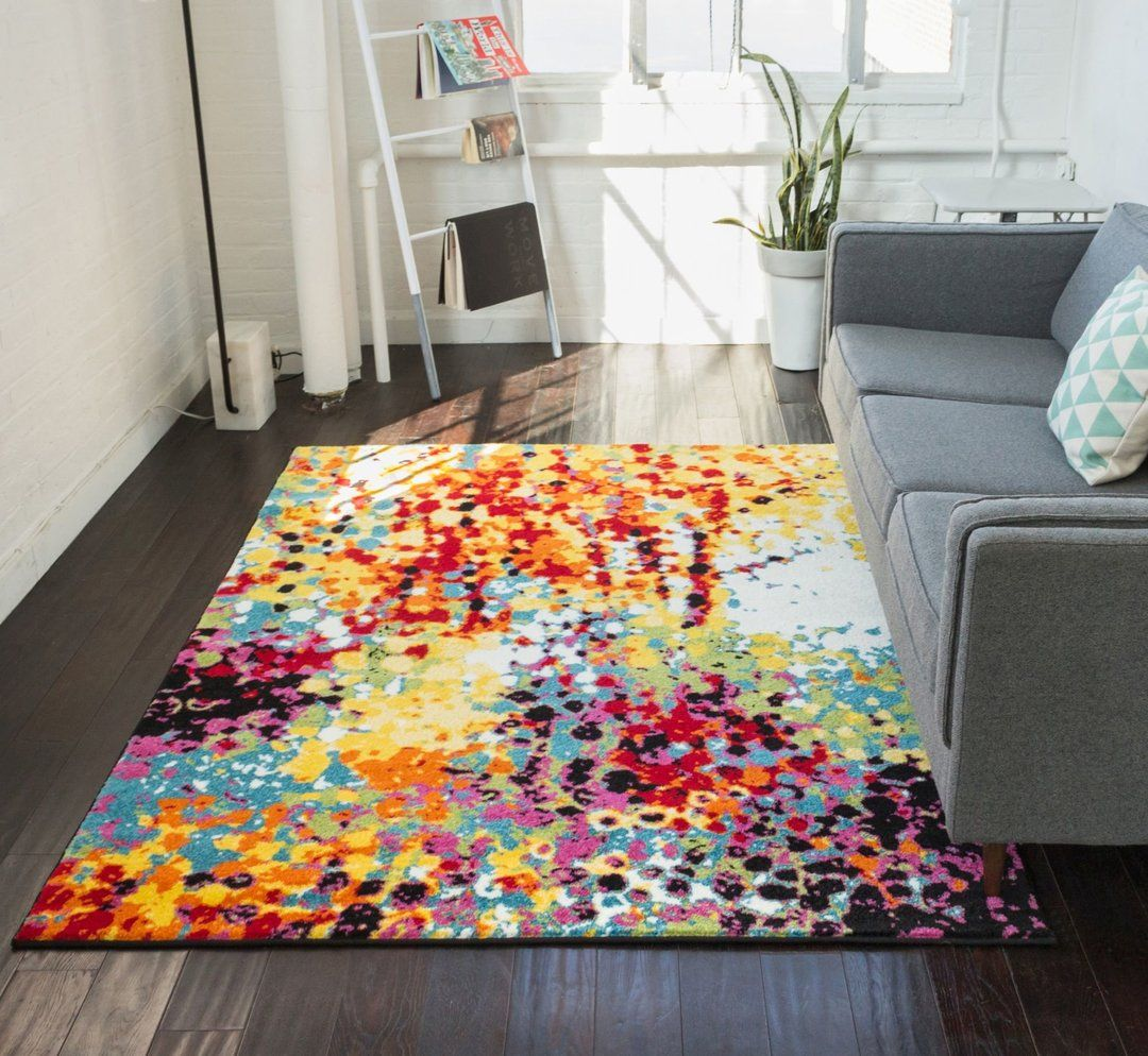 Partridge Multi Modern Bright Abstract Rug With Images Well