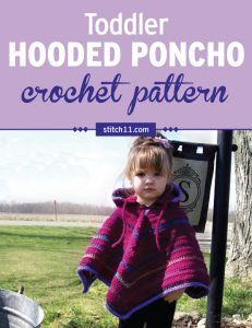 This Toddler Hooded Poncho crochet pattern is worked in 3 pieces - hood, neck, and poncho. It is crocheted both in the round and by rows. You can choose whatever color, with or without the highlights. Perfect for any toddler, to keep them warm in cold months as they walk around outside. #crochet #crochetlove #crochetlife #crochetaddict #crochetpattern #crochetinspiration #crochetgoodness #ilovecrochet #crochetgifts #crochet365 #addictedtocrochet #yarnaddict #yarnlove #babyponcho