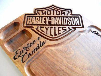 01c8905691 Tabua De Carne De Madeira Harley Davidson 30 x 50 x 3,5 CM Personalizada  Nome Gravado
